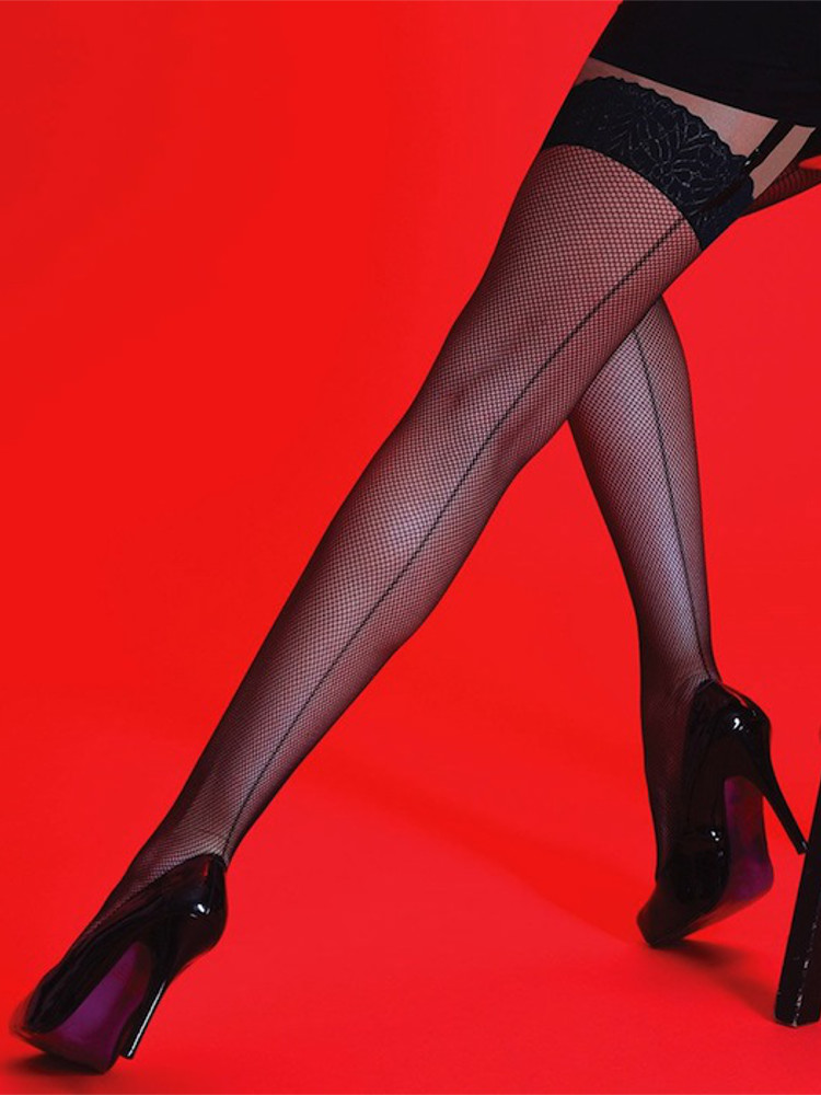 Silky Scarlet Back Seamed Fishnet Stockings