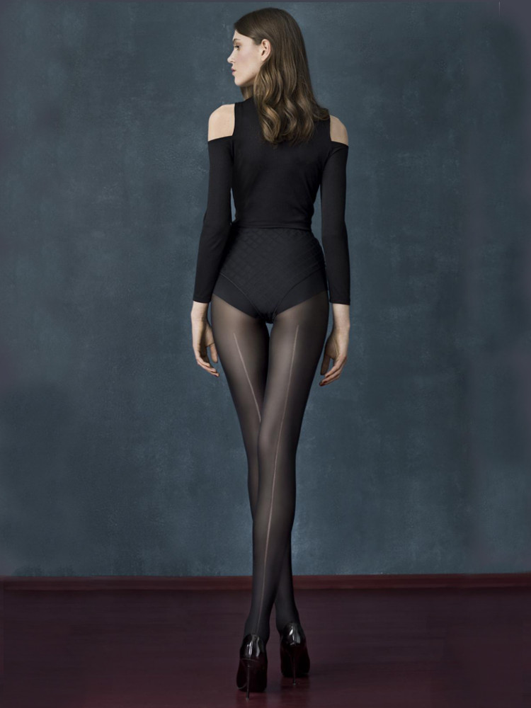 Fiore Long Black Seamed Tights