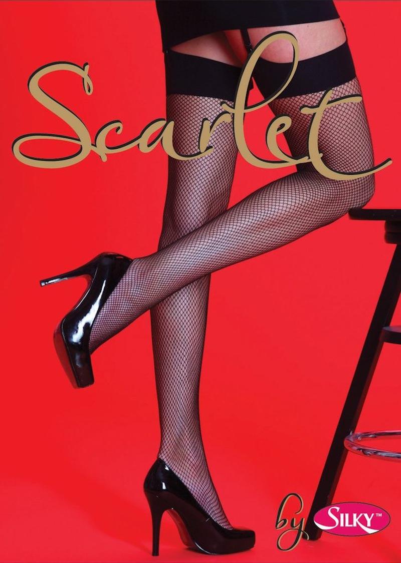 Scarlet Plain Top Fishnet Stockings