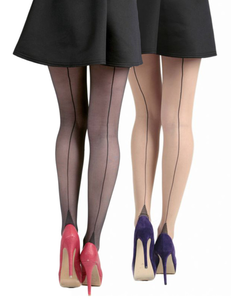 Pamela Mann Jive Seamed Tights - Also Available in XL, XXL & XXXL