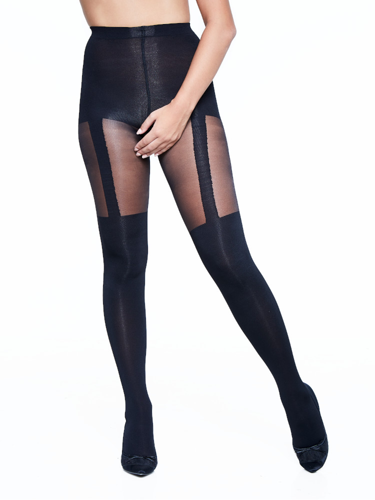 LADIES MOCK STOCKING SUSPENDER TIGHTS IN ELECTRIC BLUE ONE SIZE
