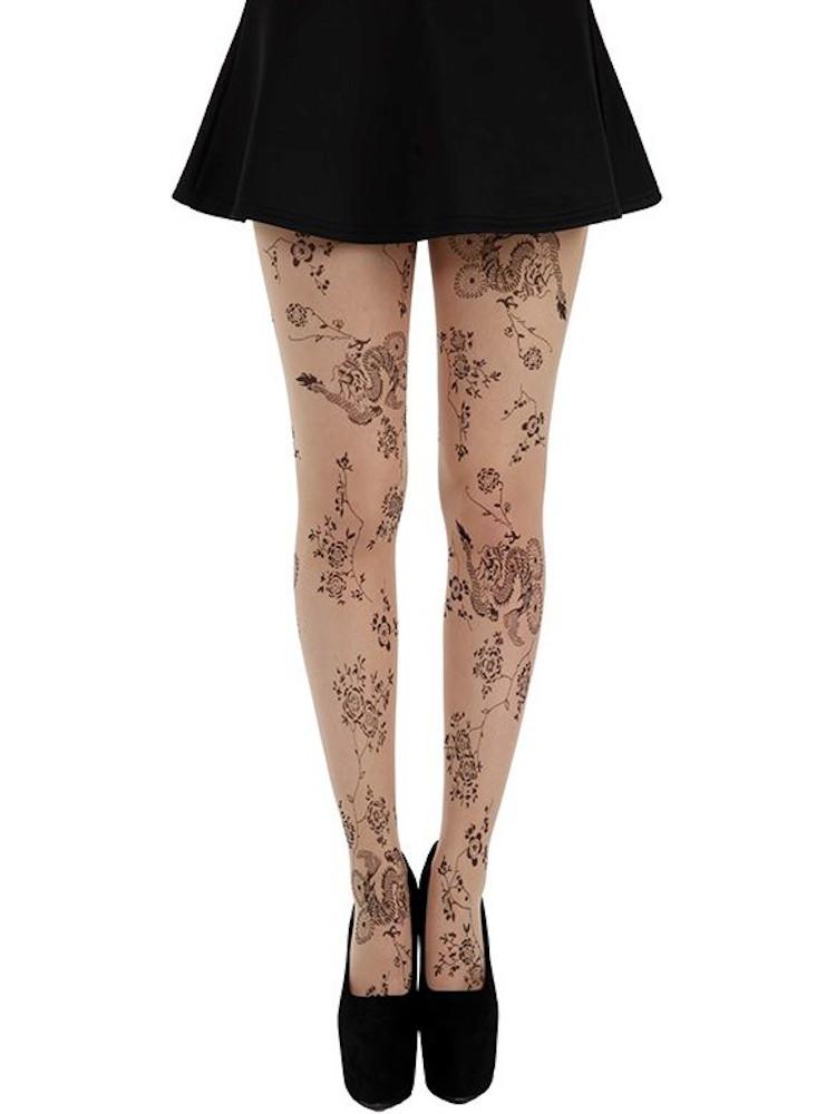 Pamela Mann Floral Tattoo Tights