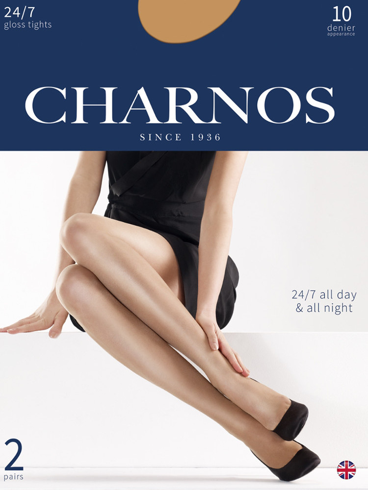 Image of Charnos 24/7 Gloss Tights 2 Pair Pack Barely Black Large