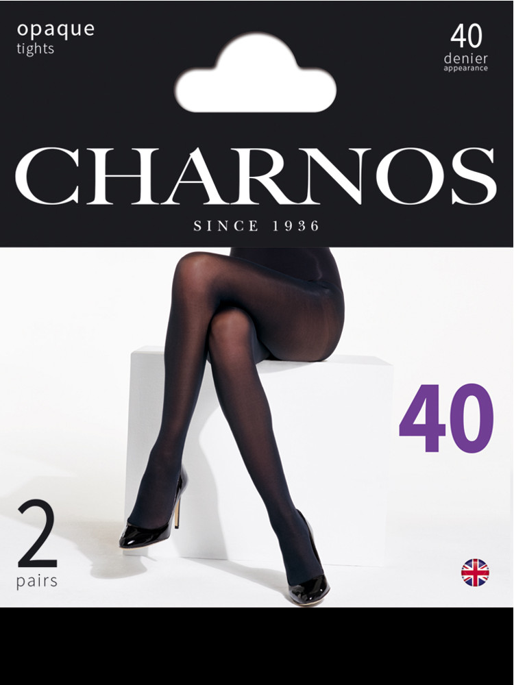 Image of Charnos 40 Denier Opaque Tights 2 Pair Pack-Black-Medium / Large