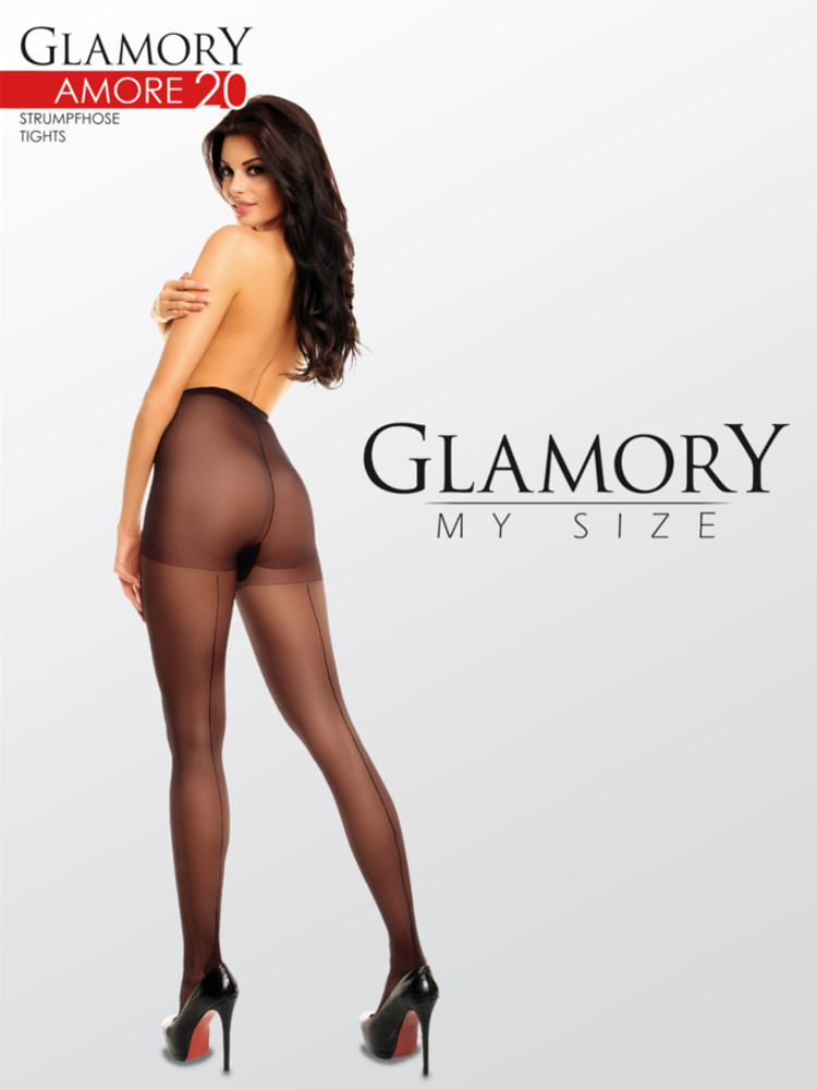 Image of Glamory Amore 20 Seamed Tights-Black-2XL