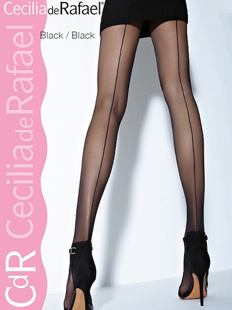 Image of Cecilia de Rafael Hyde Park Back Seam Tights Natural/Natural S/2