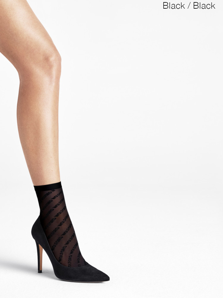 Image of Wolford Logo Ankle High Socks-M-Black / Black