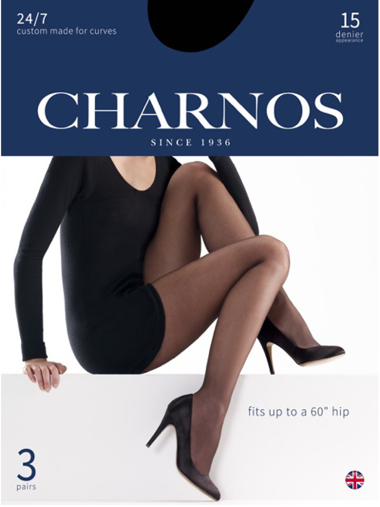 Image of Charnos 24/7 Plus Size Sheer 15 Denier Tights 3 Pair Pack -Black-XXXL