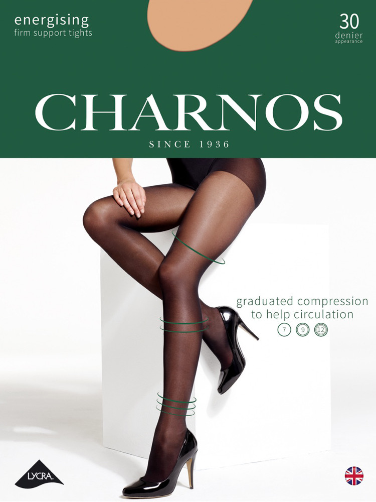 Image of Charnos Firm Energising Compression Support Tights-Small-Barely Black