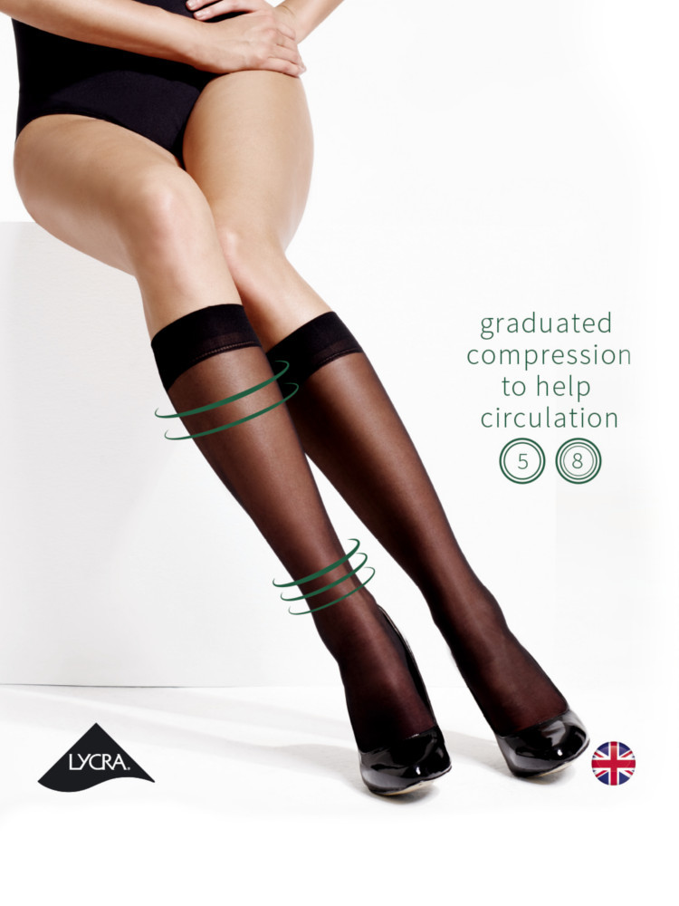 Image of Charnos Medium Support, Massage Sole Knee Highs-Black-One Size