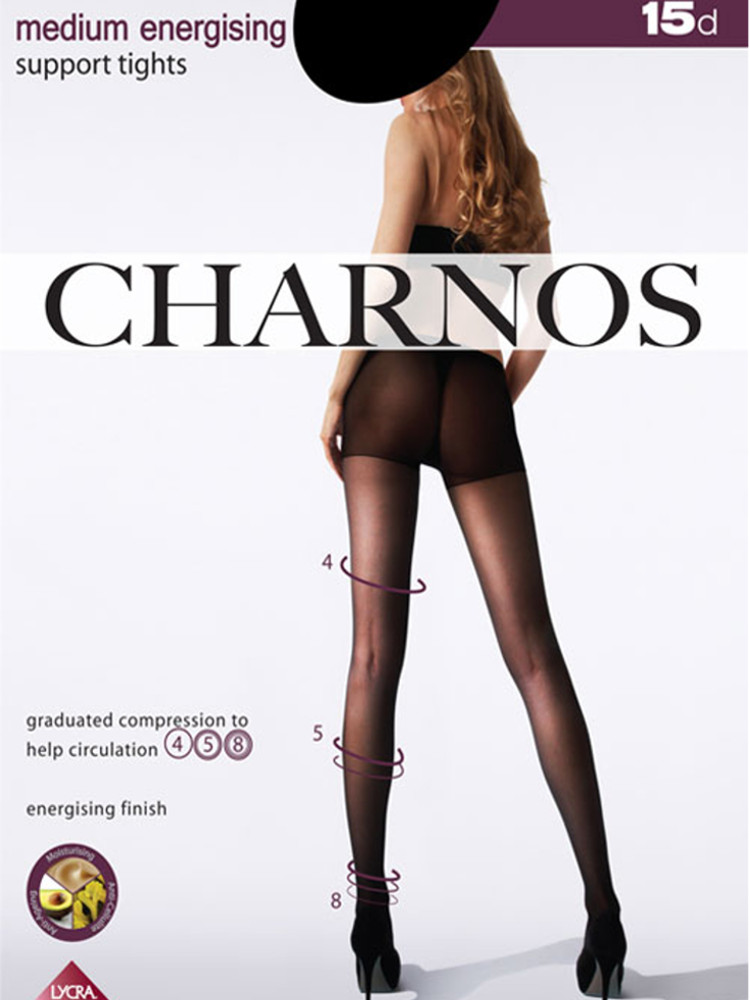 Image of Charnos Medium Energising Support Tights-Black-Small