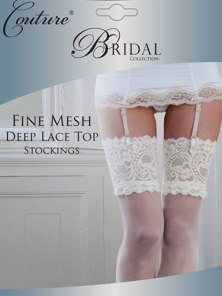 Image of Couture Bridal Fine Mesh Stockings-Large-Ivory
