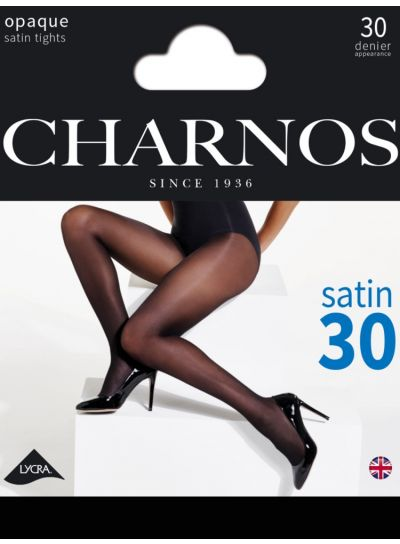 Charnos Satin 30 Denier Sheer Black Tights