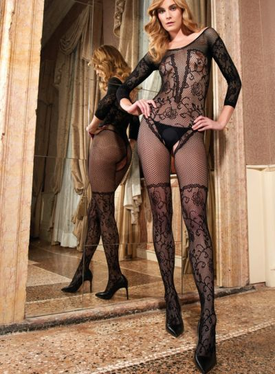 Trasparenze Europide Floral Fishnet Bodystocking
