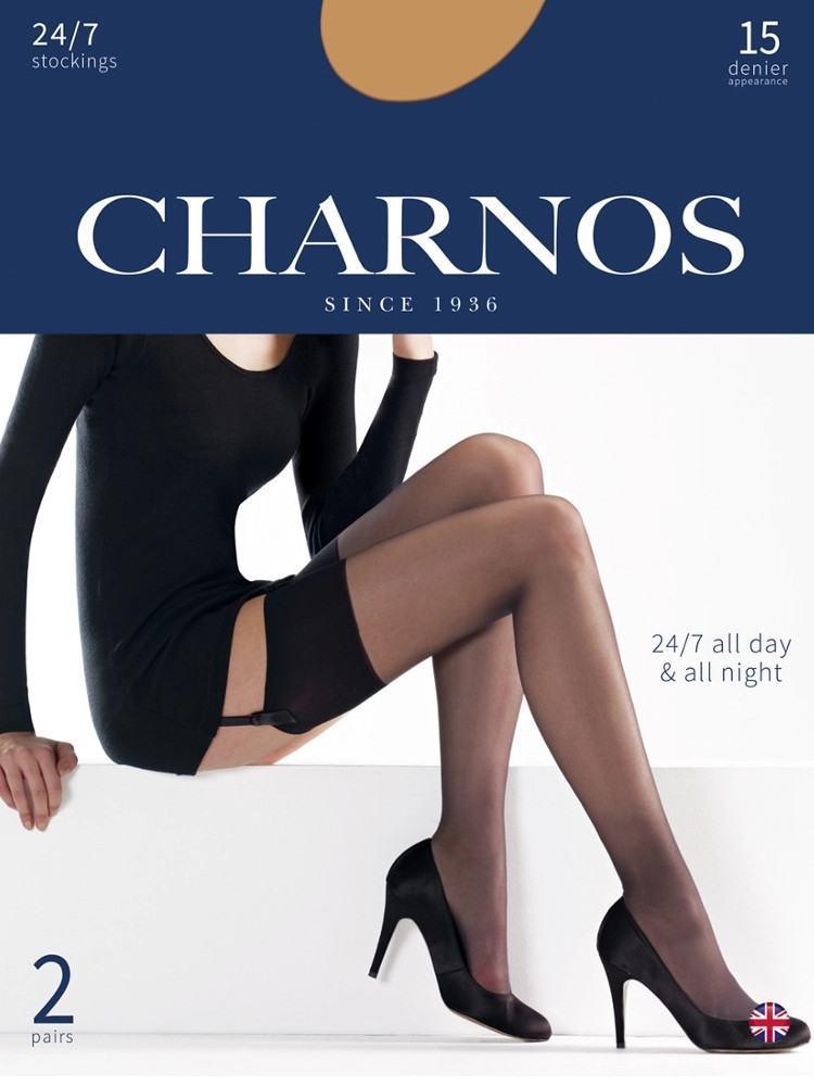 Image of Charnos 24/7 15 Denier Stockings 2 Pair Pack Barely Black Large