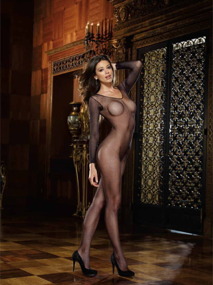 Image of Dreamgirl Long Sleeved Crotchless Fishnet Bodystocking-Black-One Size