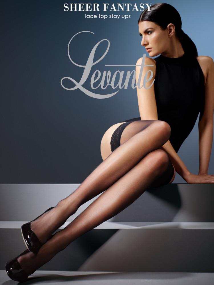 Image of Levante Fantasy Sheer Hold Ups: Black - X-Tall
