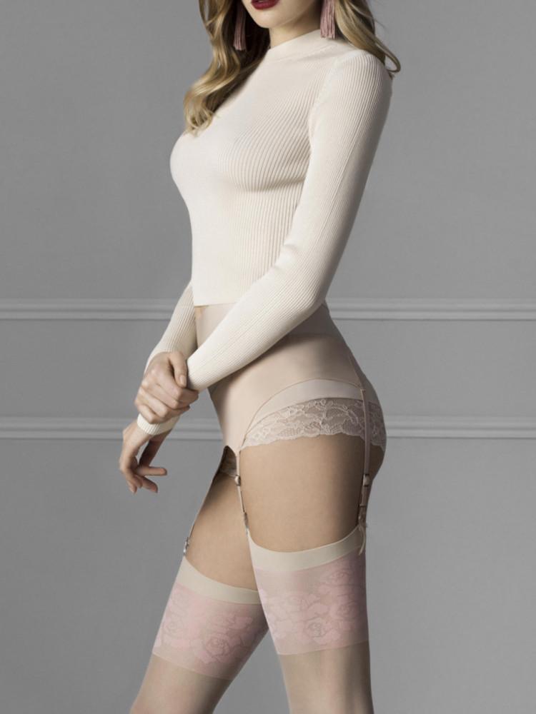 Image of Fiore Blush 20 Denier Stockings-Linen-M/3