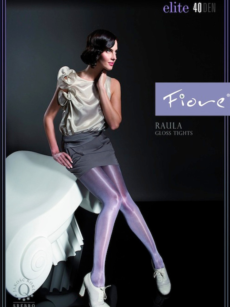 Image of Fiore Raula Gloss 40 Denier Tights-Small-Purple Shine