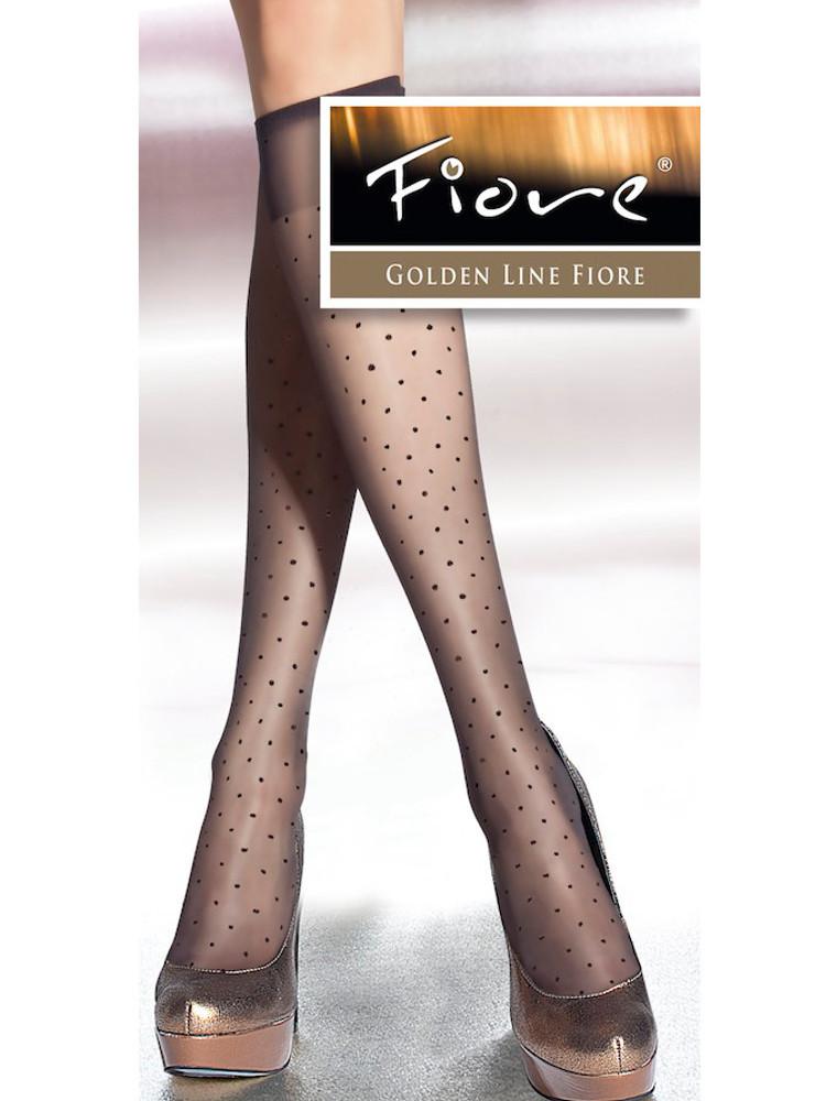 Image of Fiore Trisha Polka Dot Knee Highs-Black-One Size