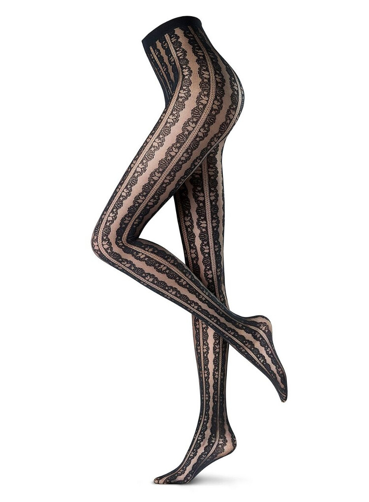 Image of Oroblu Abstract Flounce Patterned Tights-Medium-Black