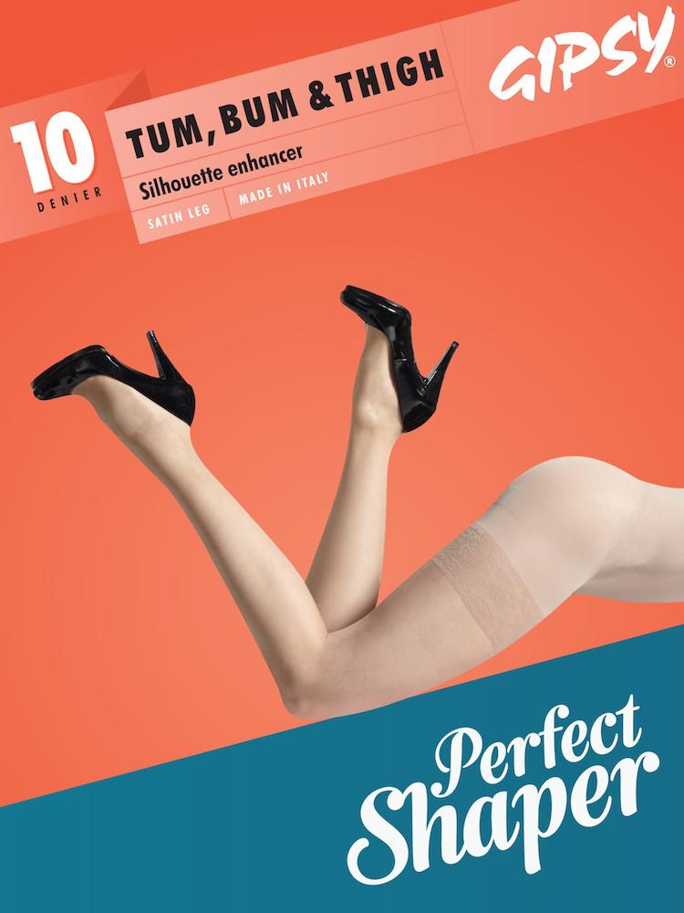 Image of Gipsy 10 Denier Tum, Bum & Thigh Sheer Tights-Natural Glow-XLarge