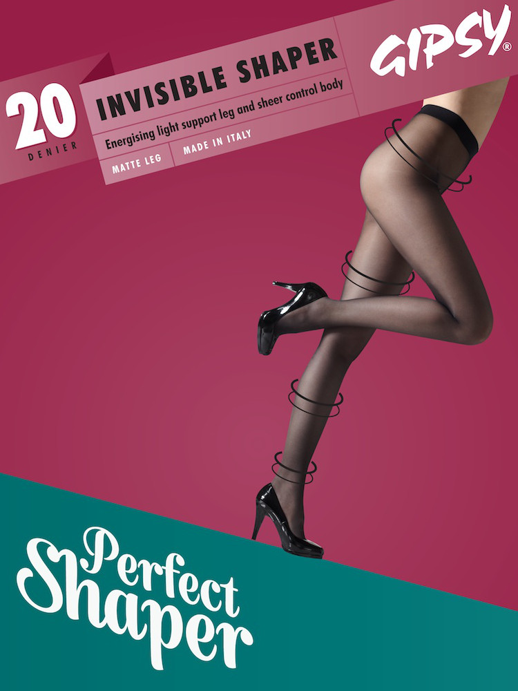 Image of Gipsy 20 Denier Invisible Shaper Top Tights-Large-Black