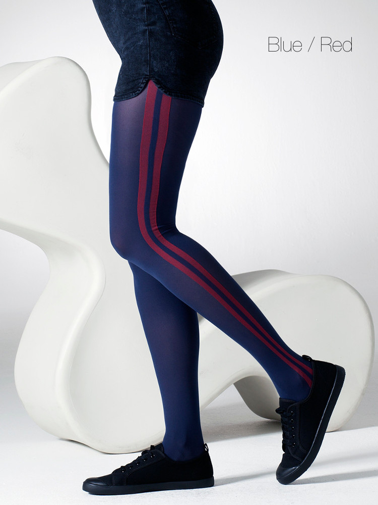 Image of Gipsy Athletic Double Stripe Tights-S / M-Blue / Red
