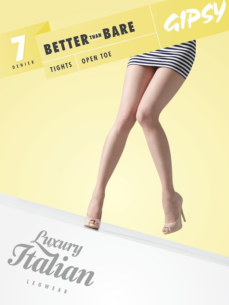 Image of Gipsy Better Than Bare Open Toe Tights-Large-Chocolate