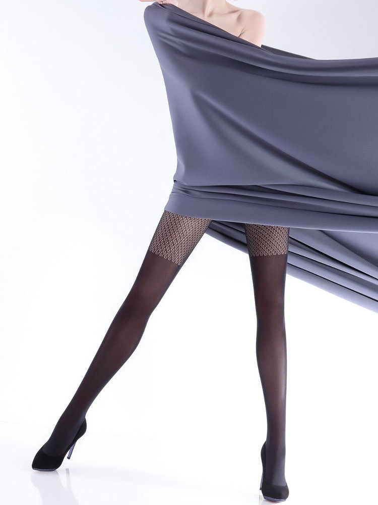 Image of Giulia Rufina Net Top Over The Knee Tights - Hosiery Outlet-Large-Navy