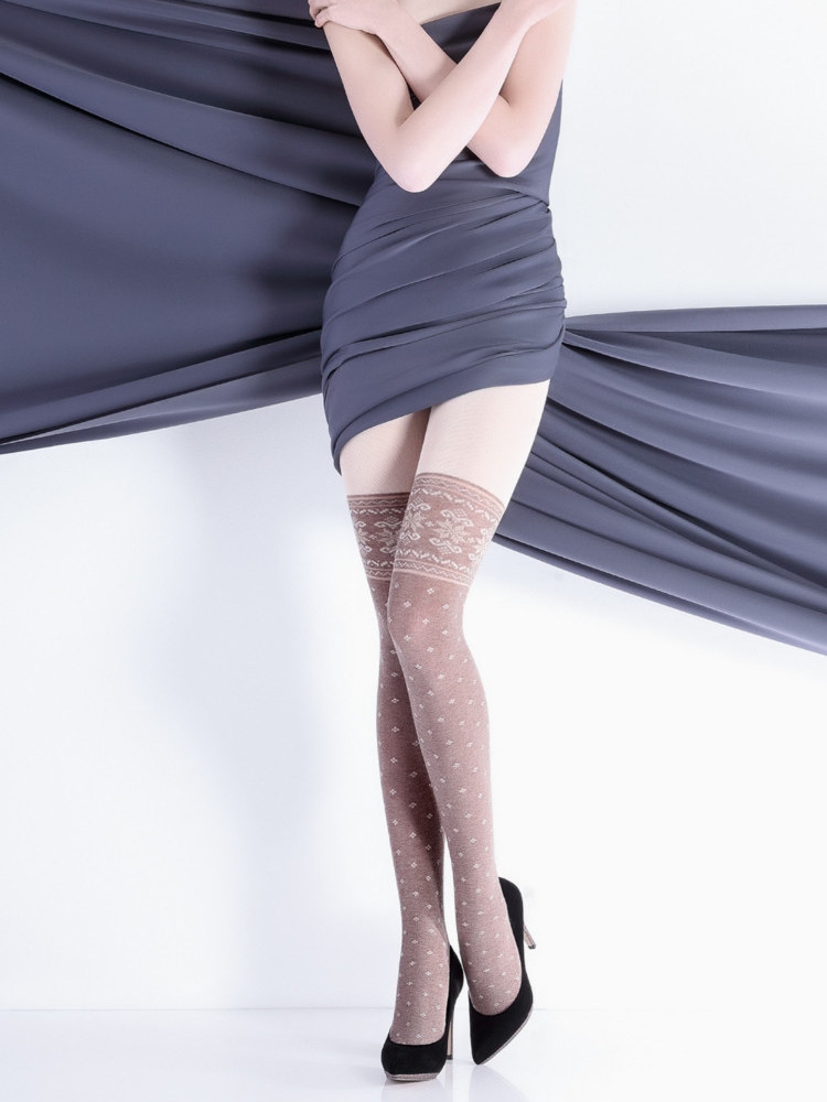 Image of Giulia Scandy 200 Mock Over The Knee Tights-Navy -Small