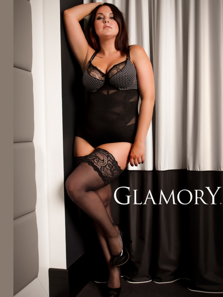 Image of Glamory Comfort Lace Top Hold Ups- 2XL -Black