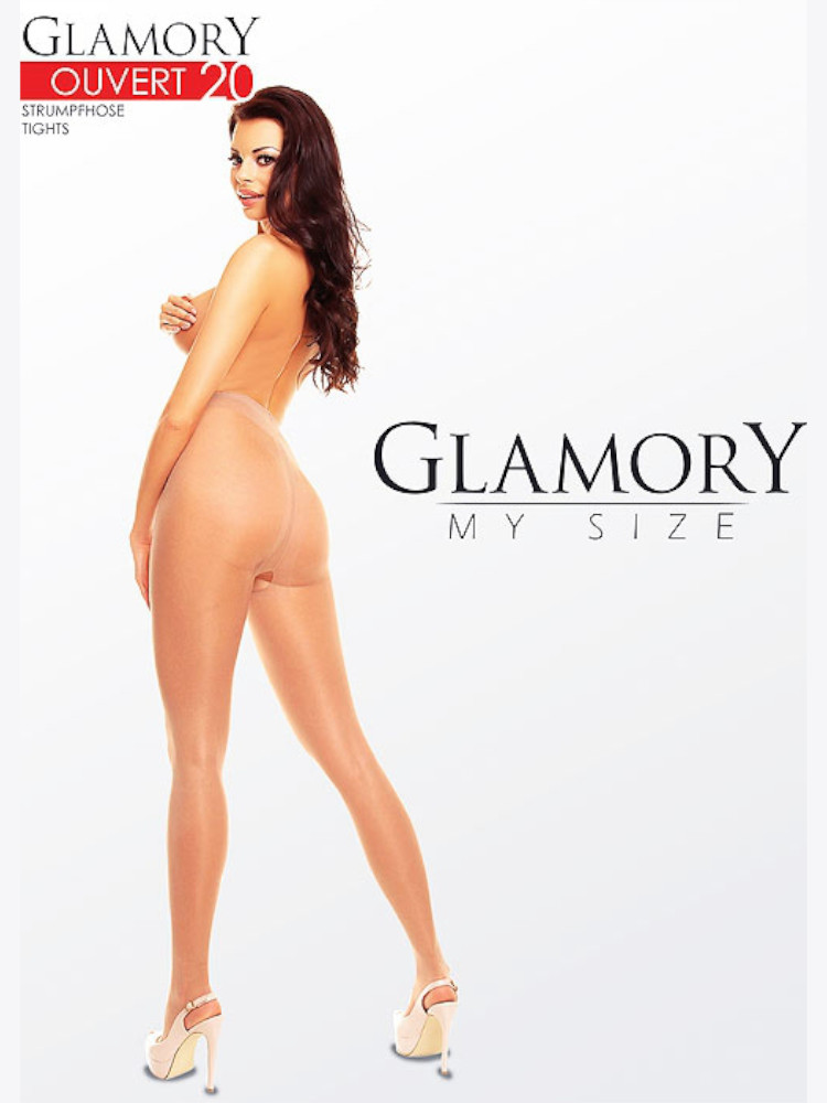 Image of Glamory Ouvert 20 Crotchless Tights-Black 2XL