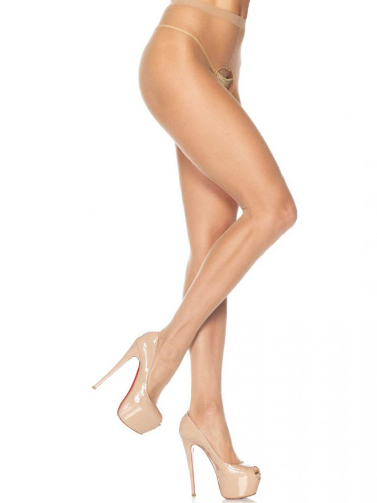 Image of Leg Avenue Crotchless Sheer Tights-Black-One Size