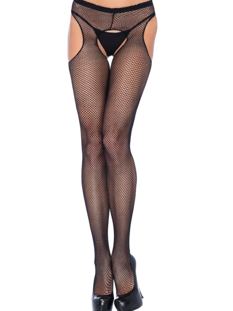 Image of Leg Avenue Fishnet Suspender Tights-Black-XL