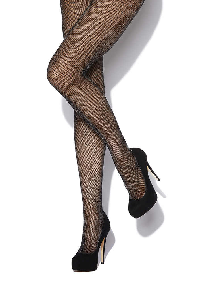 Image of Charnos Glitter Lurex Mock Glitter Net Tights - Hosiery Outlet-Medium / Large-Black