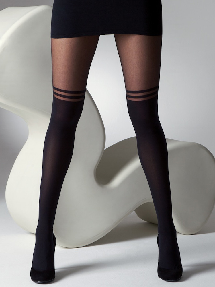 Image of Gipsy Mock Over The Knee Double Stripe Tights -S / M-Black