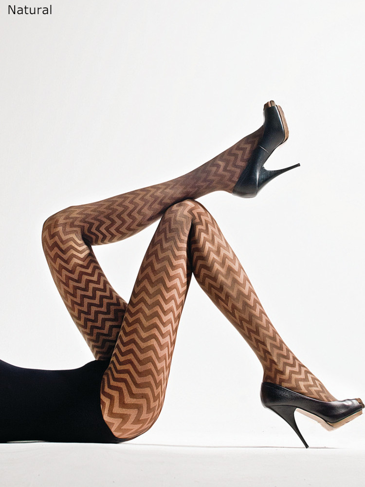 Image of Cecilia de Rafael Mieres Zig Zag Tights -Medium Lapizlazuli