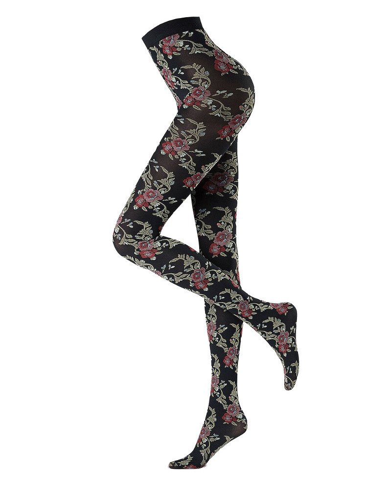 Image of Oroblu Flower Blooms Tights-Small-Black/Floral