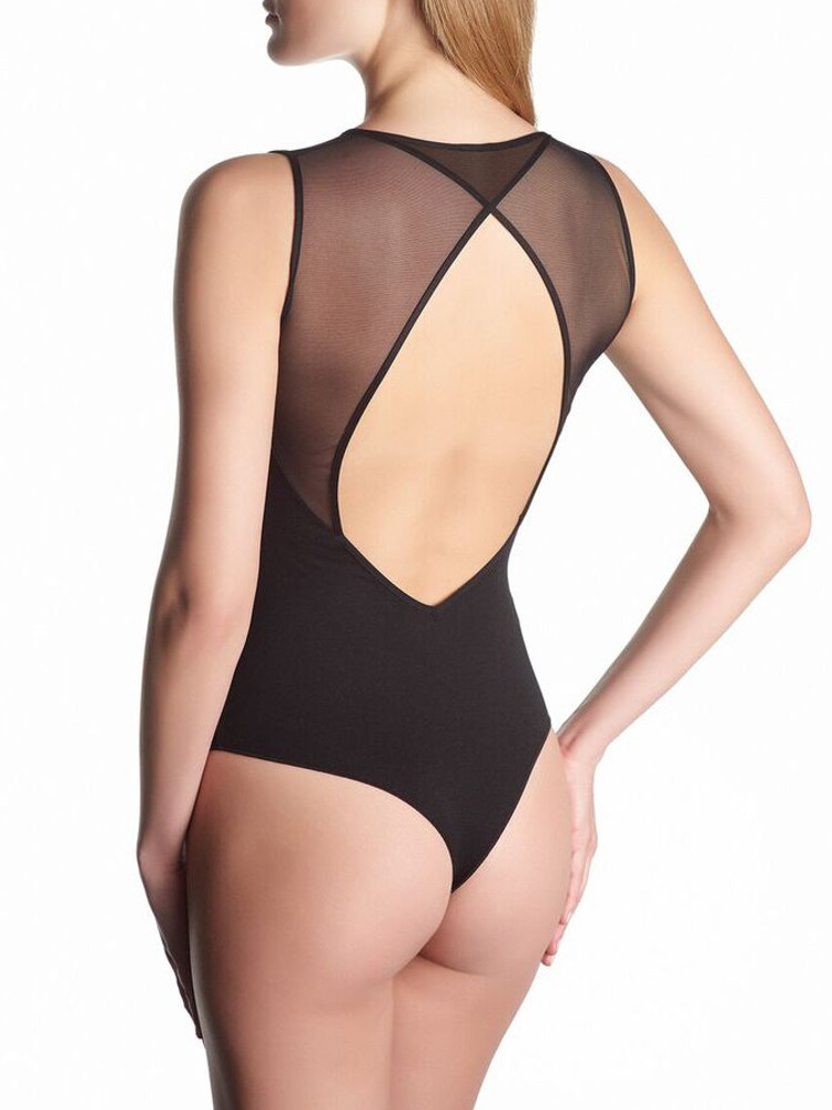 Image of Oroblu Micromodal Perfect Line String Bodysuit-Small-Black
