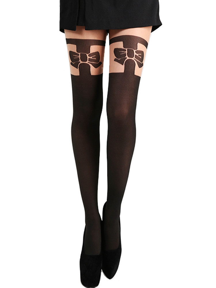 Image of Pamela Mann Bow Over The Knee Tights-One Size-Black