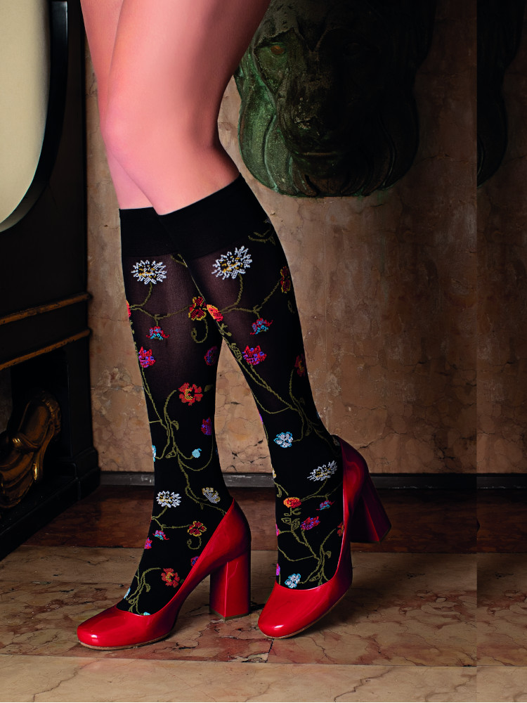 Image of Trasparenze Platino Floral Patterned Knee Highs-One Size-Bordeaux