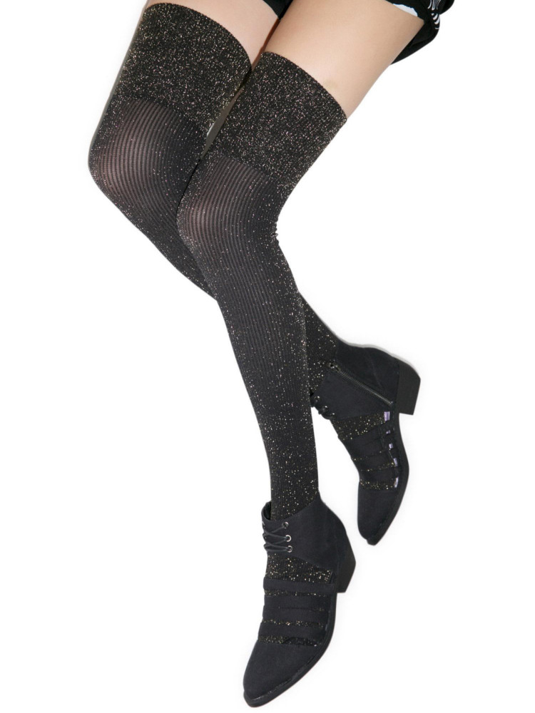 Image of Pretty Polly Sparkle Ribbed Over The Knee Socks-Black / Gold-One Size
