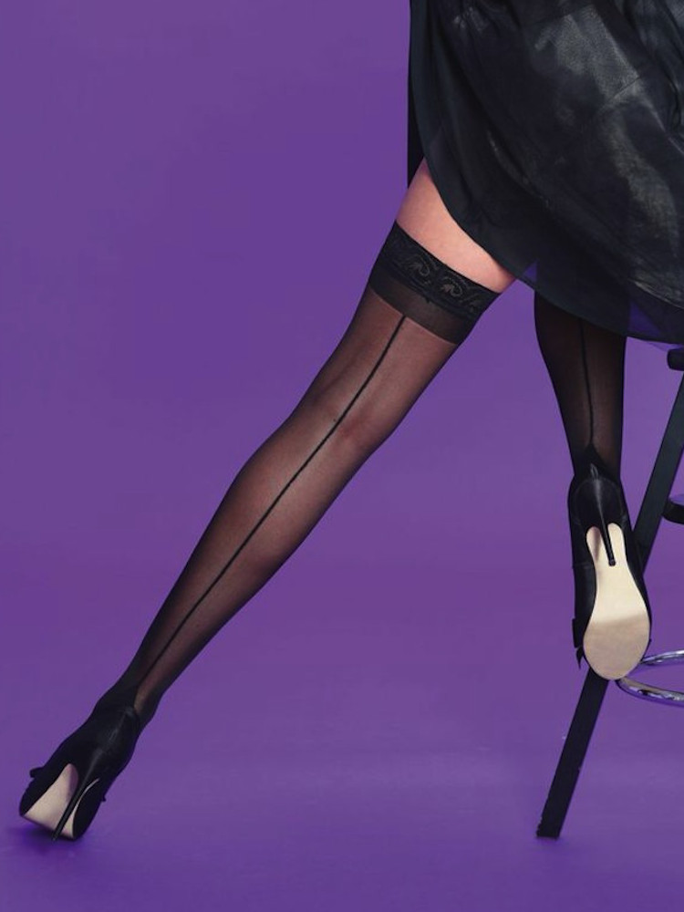 Image of Scarlet Seamer Lace Top Hold Ups Black One Size