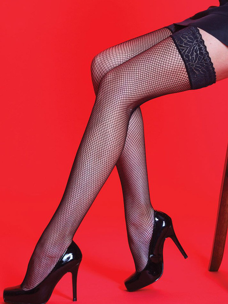 Image of Scarlet Lace Top Fishnet Hold Ups - Natural - Medium