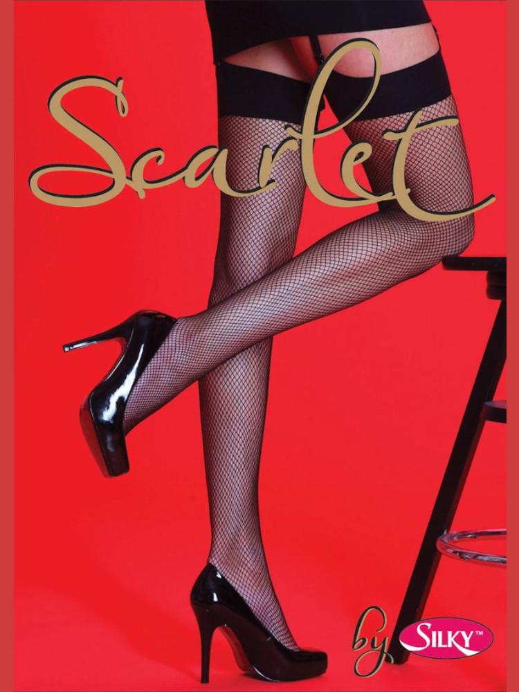 Image of Scarlet Plain Top Fishnet Stockings-Black-Medium