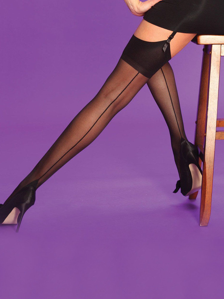 Image of Scarlet Seamer Stockings Black/Red M
