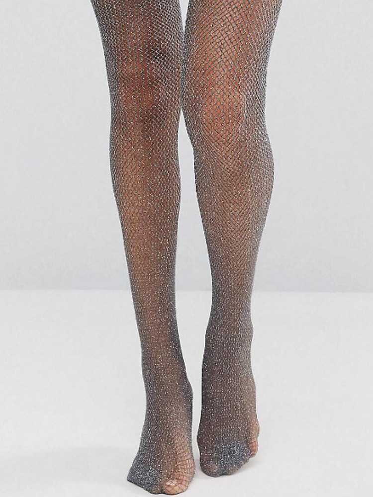 Image of Silky Lurex Sparkle Fishnet Tights-Black-One Size