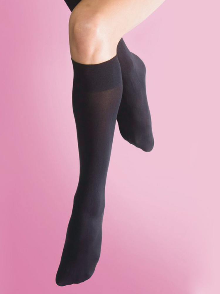 Image of Silky Soft Opaque 70 Den Knee Highs Black One Size