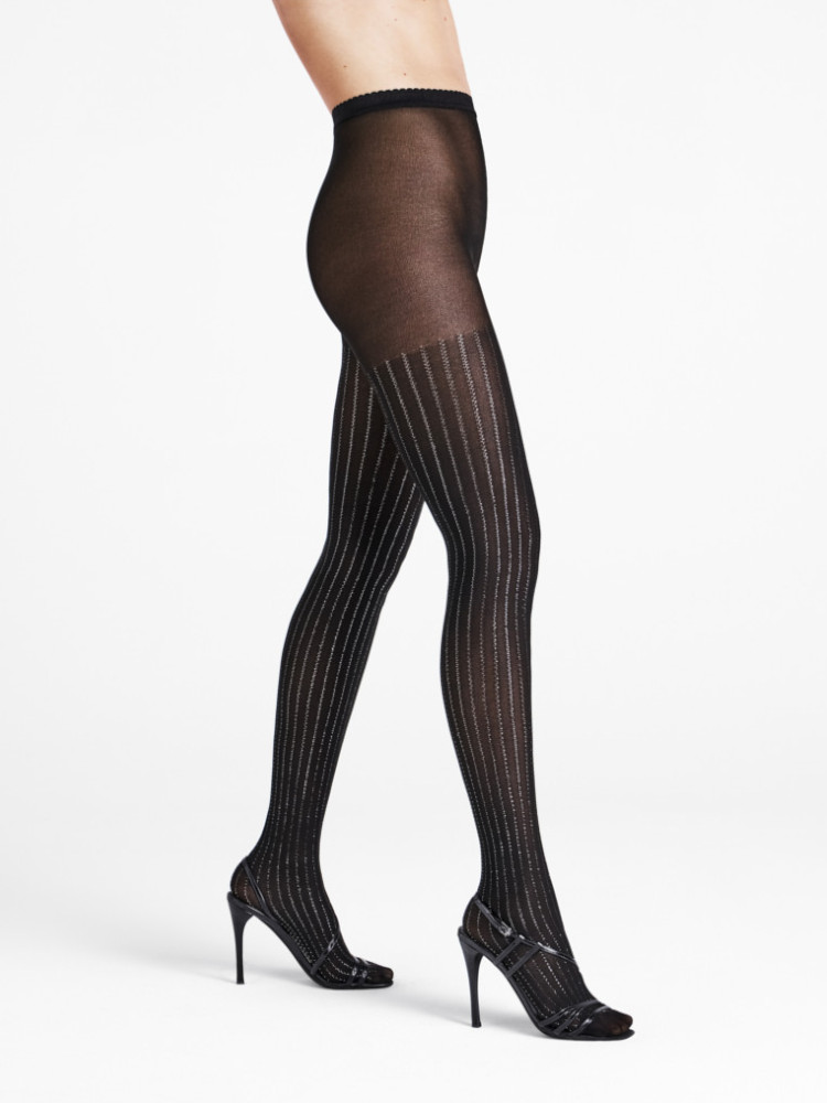 Image of Wolford Sparkle Strip Tights-Large-Black / Silver